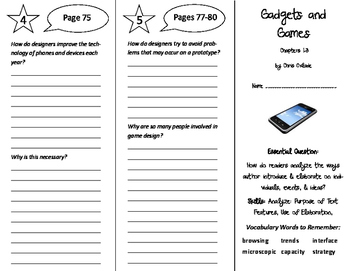Gadgets and Games Trifolds - ReadyGen 6th Grade Unit 4 Module A