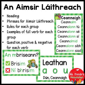 Gaeilge Aimsir Láithreach (Present Tense rules/endings Full Poster set)