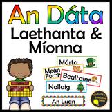 Gaeilge An Dáta - Laethanta na Seachtaine agus Míonna na Bliana