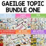 Gaeilge Topic Bundle 1 (Mé Féin,An Aimsir,Bia,Éadaí,Ag Siopadóireacht, Ar Scoil)