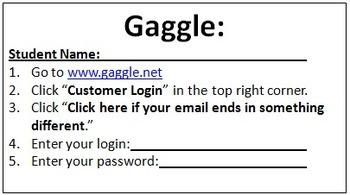 Gaggle Login Cards