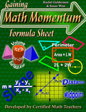 Math Formula Reference Sheet - Middle School - High School - State Test Prep