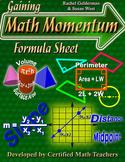 Gaining Math Momentum Formula Reference Sheet