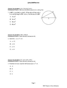 Gaining Math Momentum II WarmUp Set 1