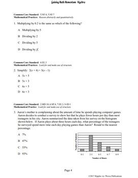 Gaining Math Momentum in Algebra WarmUp Set 1: Pre-Algebra Skills