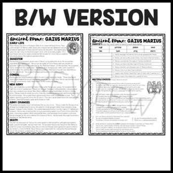 Gaius Marius  Biography Reading Comprehension Worksheet; Ancient Rome