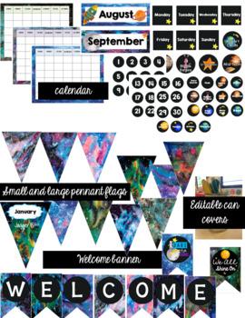 Galactic Space Classroom Decor Bundle (Editable)