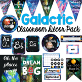 Galactic Space Classroom Decor Bundle (Editable)