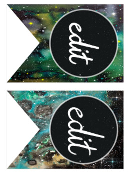 Galactic Space Theme Bunting (editable)