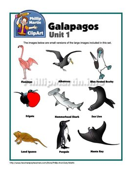 Galapagos Animals Clip Art Unit 1