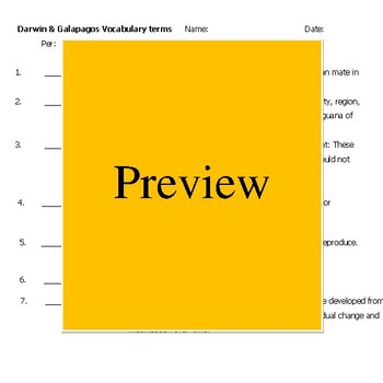 Galapagos, Evolution, Darwin Vocabulary 16 terms & definitions