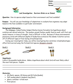 Galapagos Finch Lab: Evolution and Adaptation: Differentiated (2 levels)
