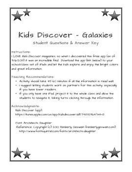 Galaxies - Kids Discover App Worksheet