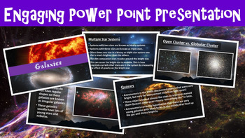 Galaxies No Prep Lesson with Power Point, Worksheet, and Vocabulary Matching