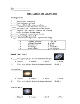 Galaxies and the Universe Assessment (Test)