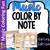 Galaxy Color by Note set of 8 Coloring Sheets for Music Class