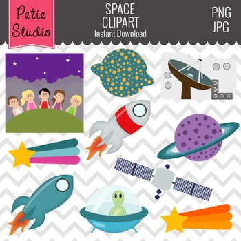 Galaxy Exploration Spaceship with Alien and Saturn Clipart - Objects105