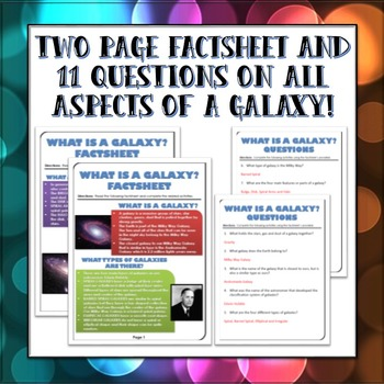 Galaxy / Milky Way Galaxy - Factsheet with Questions and Answer Key