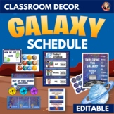 Galaxy Outer Space Theme Editable Classroom Schedule and Management Decor Set