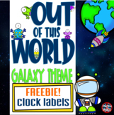 Galaxy - Outer Space Themed Clock Minute Labels **FREEBIE**