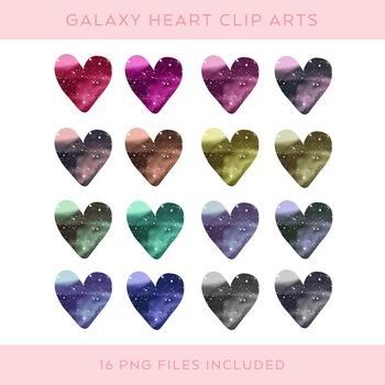 Galaxy Pattern Heart Clip Art set