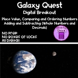 Galaxy Quest Digital Breakout Escape Room Place Value Comparing Add and Subtract