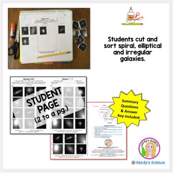 Galaxy Sort (cut and paste) Activity