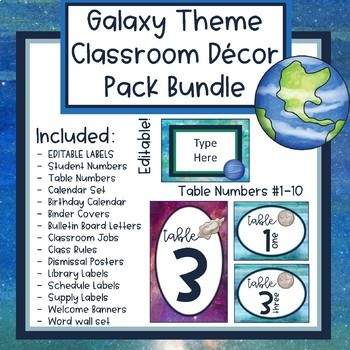 Galaxy Theme Classroom Decor Bundle (Editable)