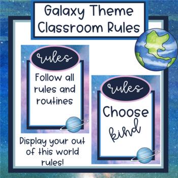 Galaxy Theme Classroom Rules - Editable