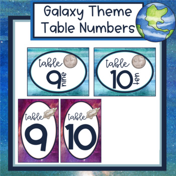 Galaxy Theme Table Numbers 1-10