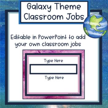 Galaxy Theme Upper Elementary Classroom Jobs - Editable