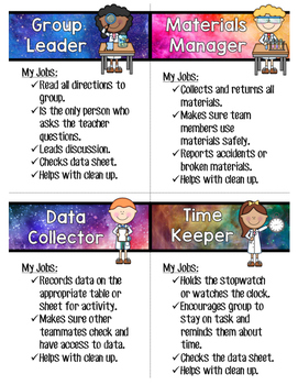 Galaxy Themed Lab Role Cards (Flat or Tent)