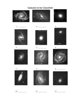 Galaxy Type Worksheet