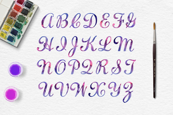Galaxy Watercolor Alphabet, Watercolor Letters, PNG Font Clipart
