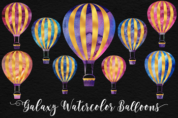 Galaxy Watercolor And Gold Balloons