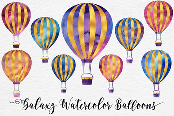 Galaxy Watercolor And Gold Balloons