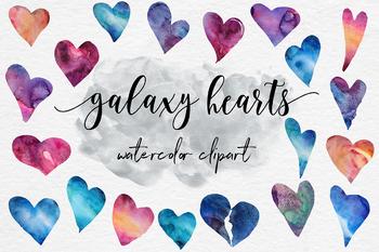 Galaxy Watercolor Hearts, Galaxy Heart Clipart, Valentine Hearts
