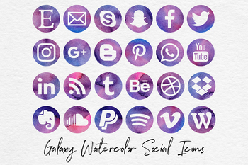 Galaxy Watercolor Social Media Icons, Social Media Clipart
