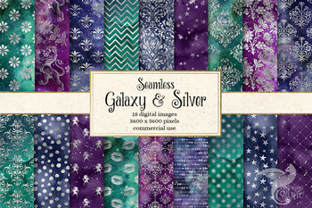 Galaxy and Silver Digital Paper - seamless textures and patterns
