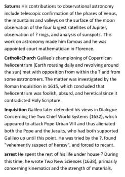 Galileo Galilei Crossword
