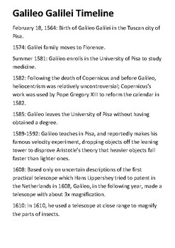 Galileo Galilei Timeline and Quotes