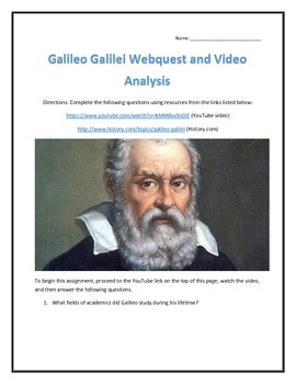 Galileo Galilei- Webquest and Video Analysis with Key