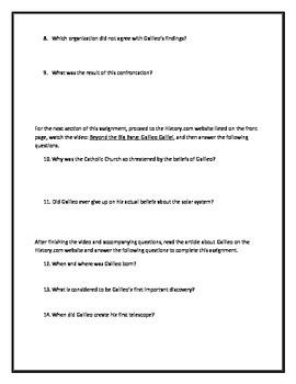 Galileo Galilei- Webquest and Video Analysis with Key