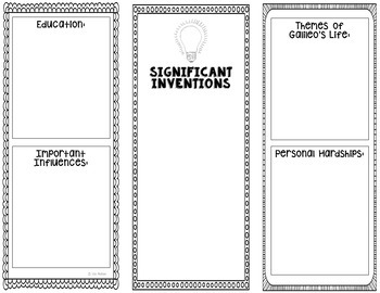 Galileo - Inventor Research Project Interactive Notebook, Science