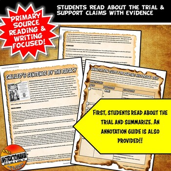 Galileo On Trial! Common Core Primary Source Literacy & Writing Activity