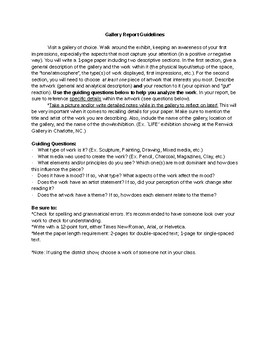 Gallery Report Guidelines