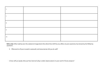 Gallery Walk Form for Projects