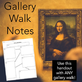 Gallery Walk Handout, Ready-to-Print for ANY Gallery Walk
