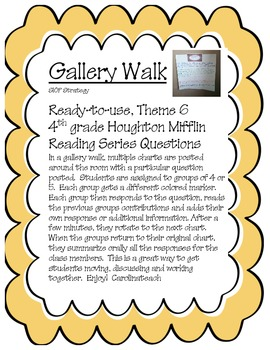 Gallery Walk Houghton Mifflin Reading Series, Theme 6, 4th Grade