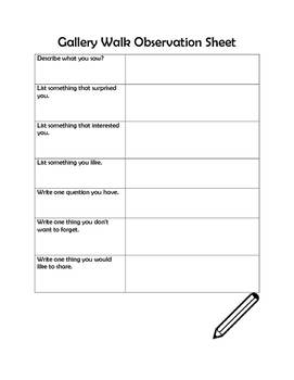 Gallery Walk Observation Sheet